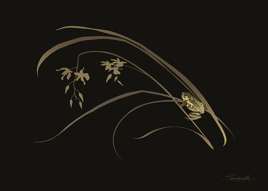 Asian Digital Art - Frog And Orchid by M Spadecaller