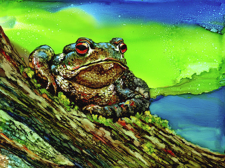 Frog on a Log Painting by Linda Eader