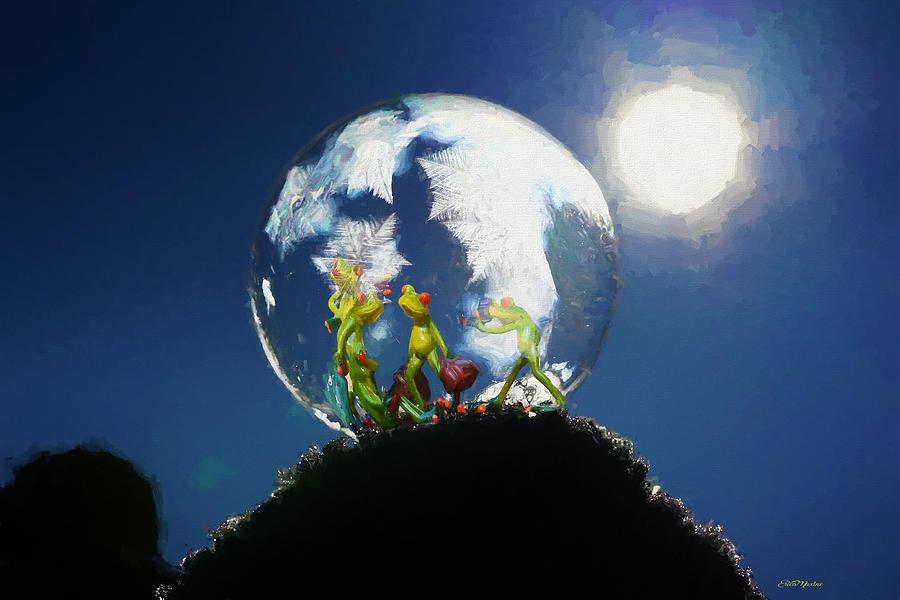 Frogs Digital Art - Frogs In A Bubble by Ericamaxine Price