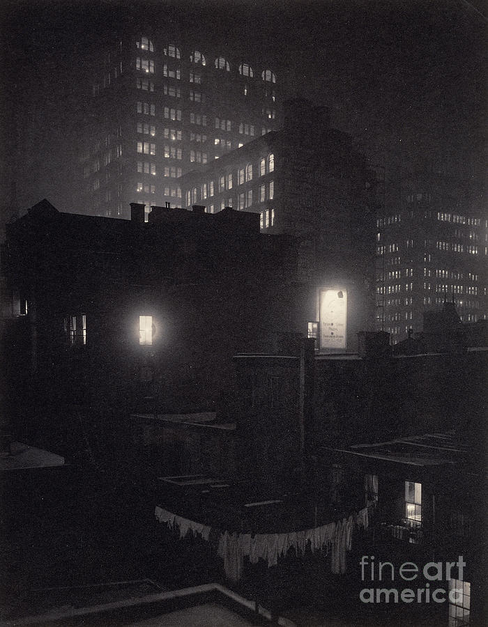 Evening Photograph - From The Back Window, 291 Ny Winter by Alfred Stieglitz