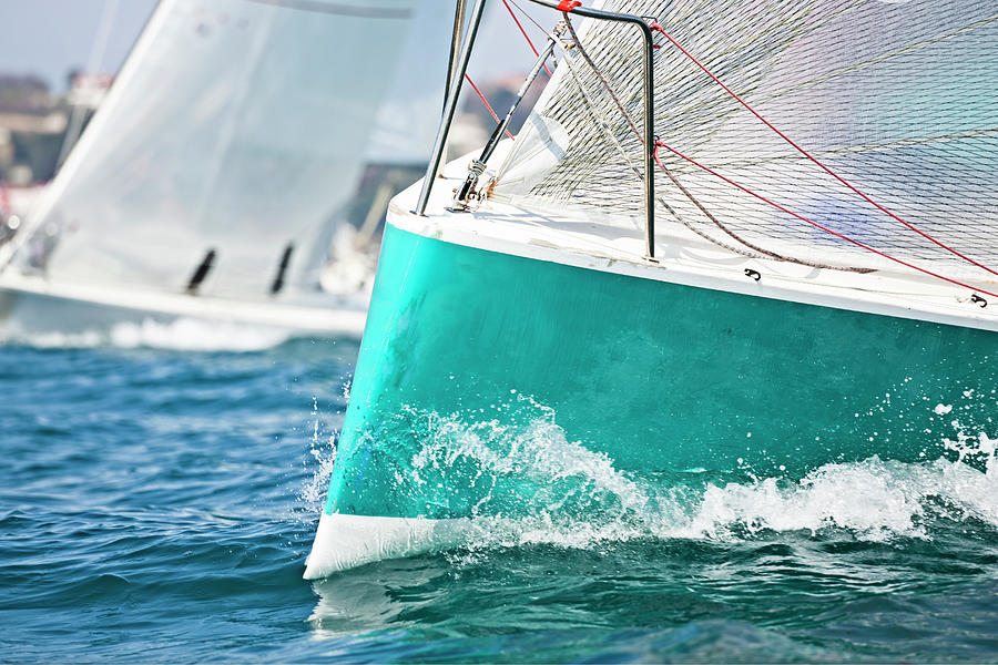 Front Of A Sailing Boat In A Regatta Photograph by Gaspr13