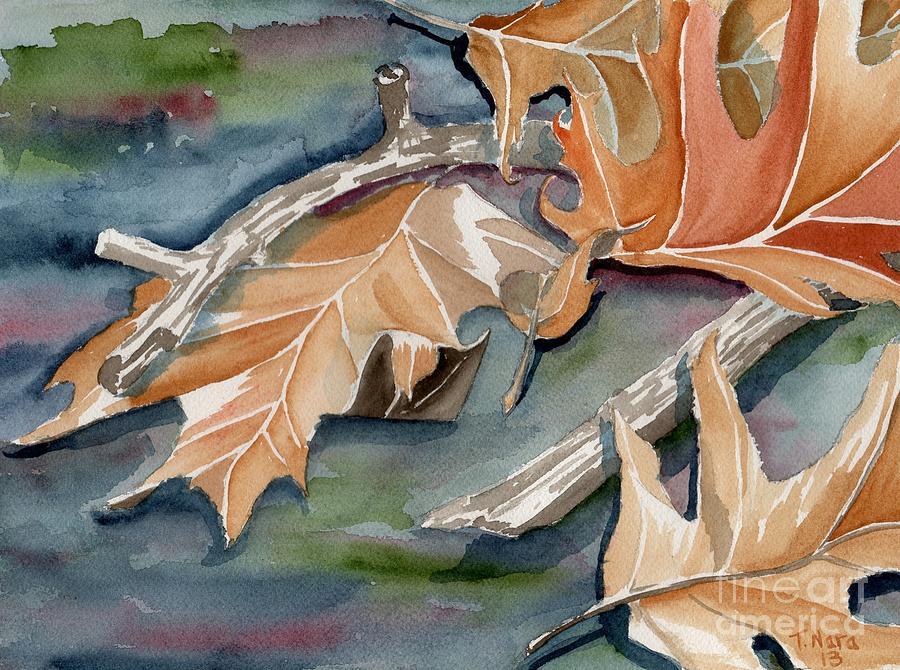 Oak Painting - Frontenac Leaves In Blue by Tammy Nara