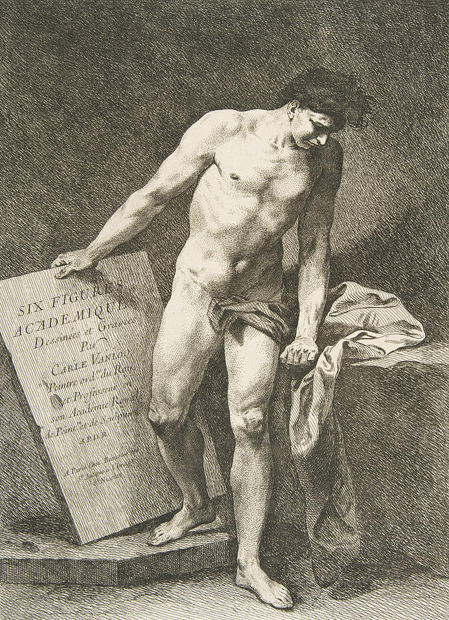 French Painters Relief - Frontispiece - Six Figures Academiques by Carle Van Loo