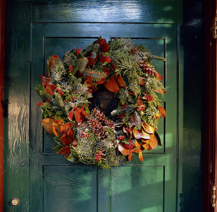 Frost Covered Christmas Wreath On Door By Richard Felber