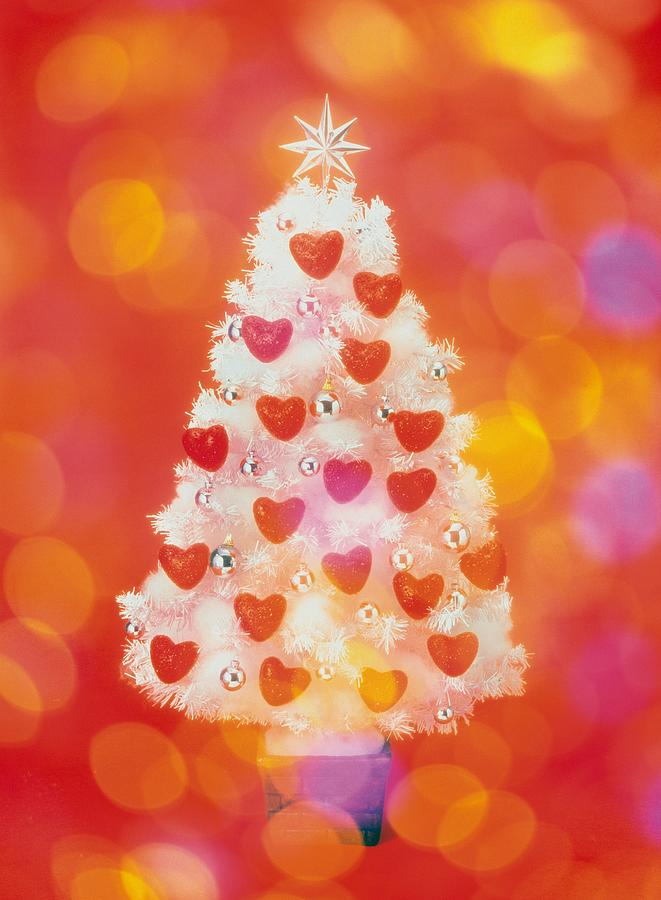 Frosted Christmas Tree Decorated With Photograph by Daj