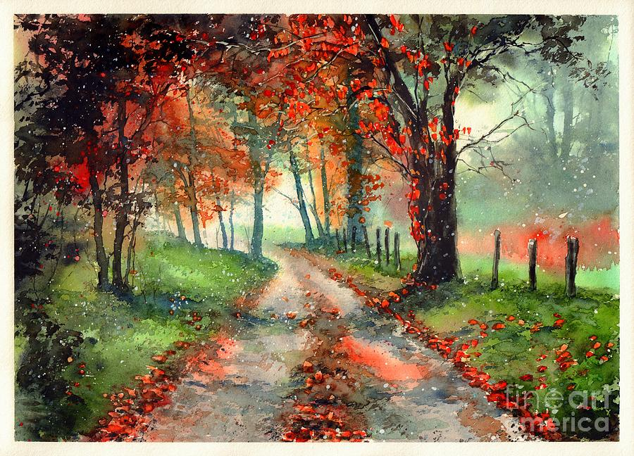 Indian Summer Painting - Frosty Autumn Patch by Suzann Sines