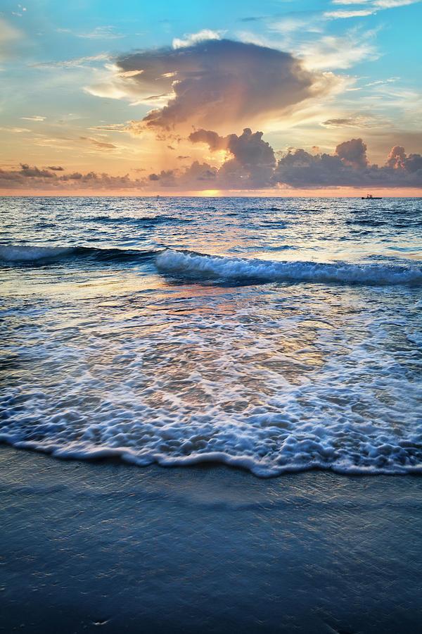 Frothy Waves at Sunrise by Debra and Dave Vanderlaan