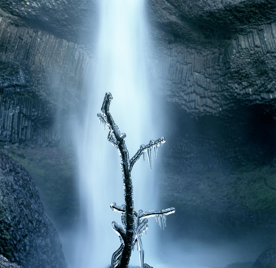 Frozen Branch By Waterfall Photograph by Zeb Andrews