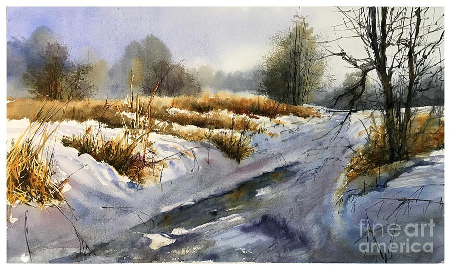Winter Painting - Frozen Brook by Suzann Sines