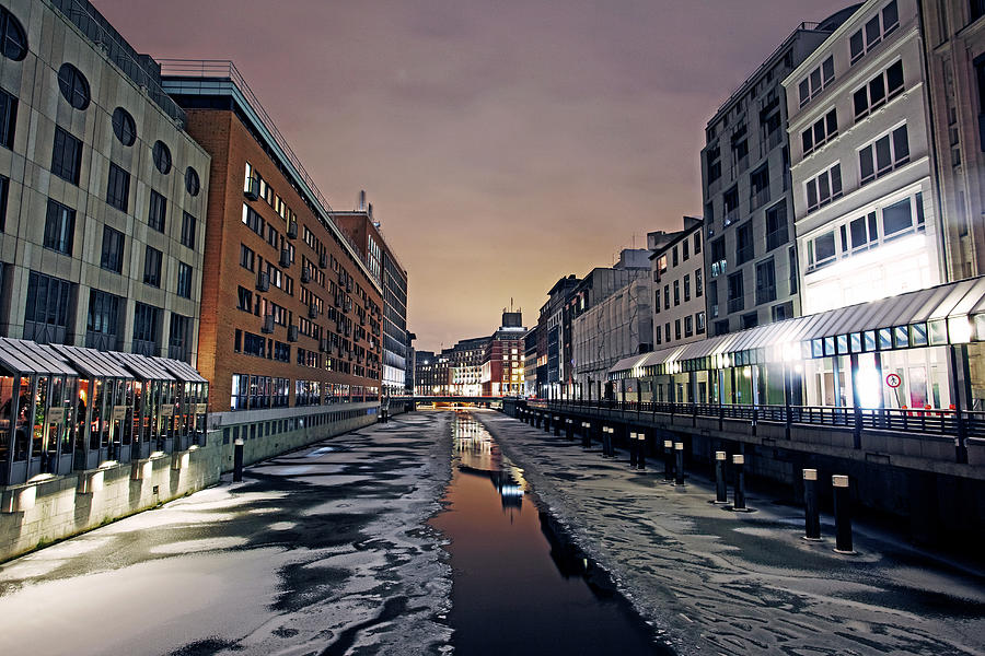 Frozen Canal In Inner Hamburg At Night Photograph by Allan Baxter