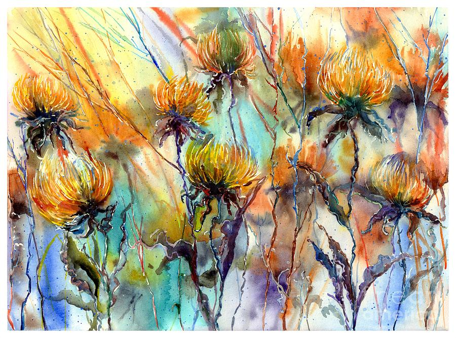 Watercolor Painting - Frozen Chrysanthemums by Suzann Sines