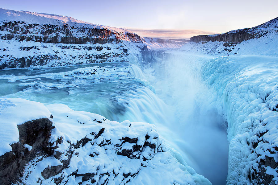 Extreme Terrain Photograph - Frozen Gullfoss Falls In Iceland In by Sara winter