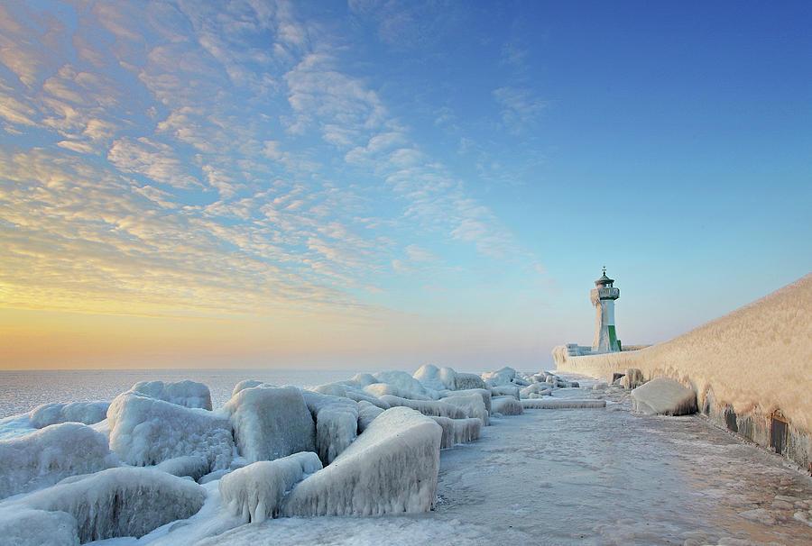 Frozen Lighthouse Photograph by Sandra Kreuzinger