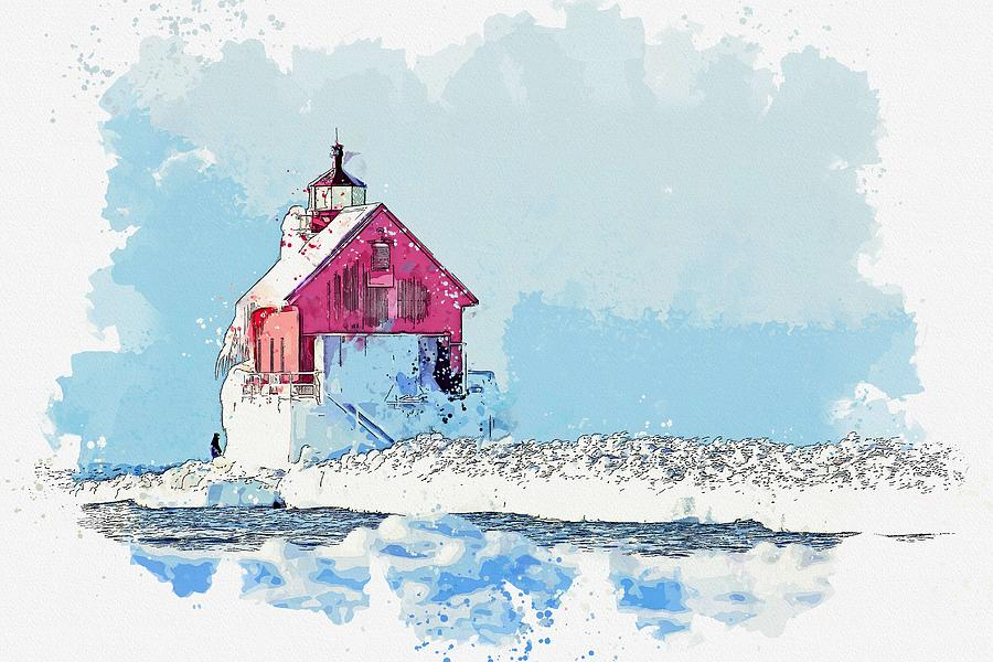 Frozen Lighthouse -  Watercolor By Adam Asar Painting
