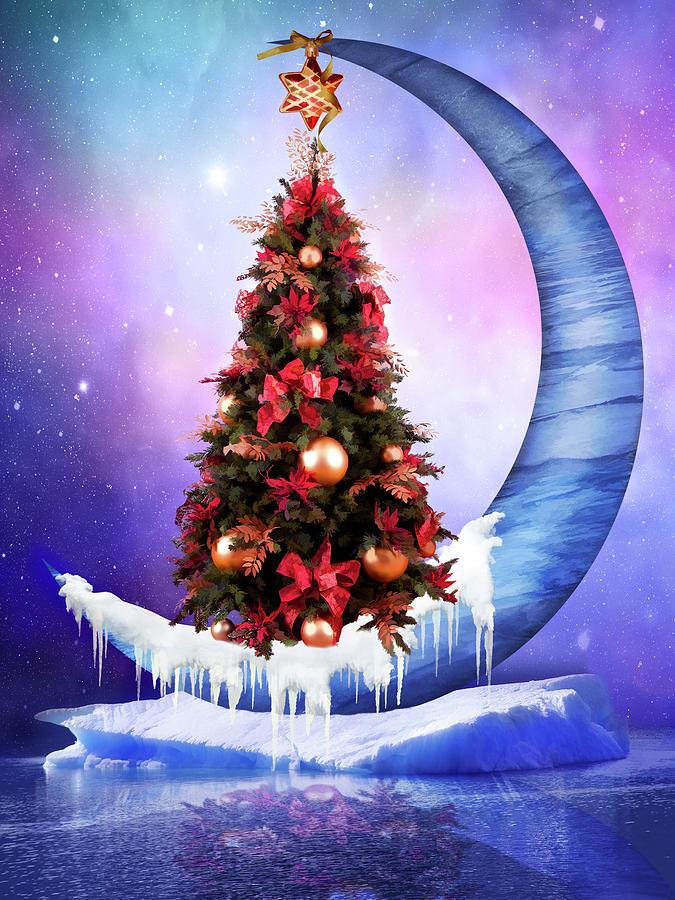Frozen Moon With Christmas Tree Digital Art