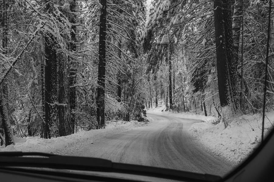 Frozen road highway 120 towards Yosemite by Alessandra RC