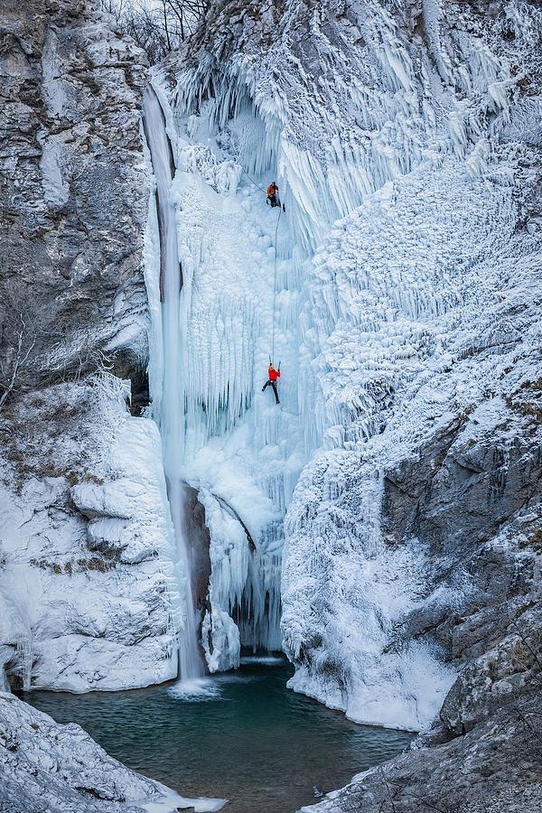 Waterfall Photograph - Frozen Waterfall Climbing by Jaka Ivancic