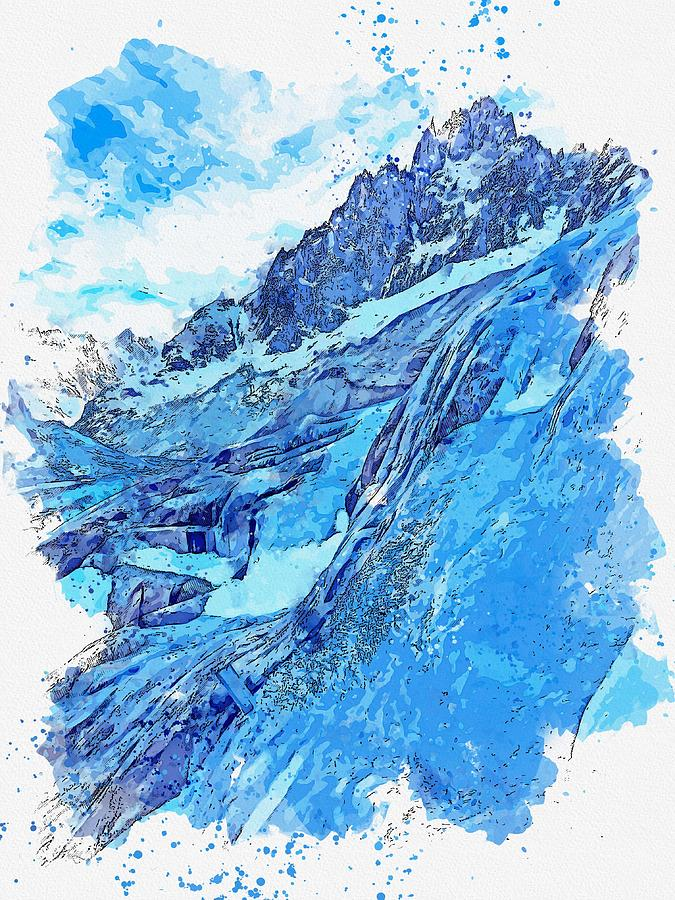Frozen Waterfall, Mer De Glace, Chamonix, France -  Watercolor By Adam Asar Painting