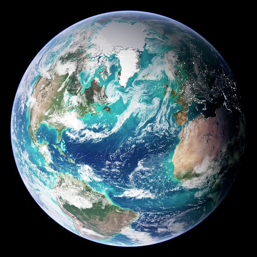 Full Earth, Close-up Digital Art by Science Photo Library - Nasa Earth Observatory