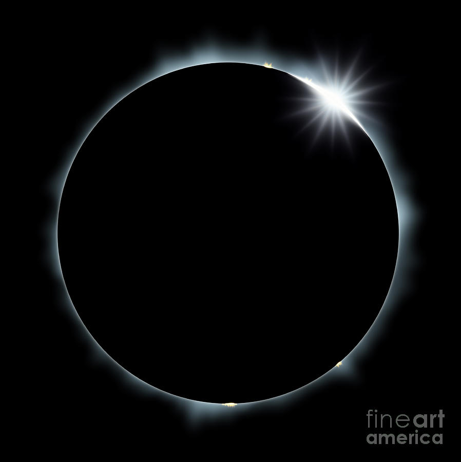 Atmosphere Digital Art - Full Eclipse Of The Sun On Black by Johan Swanepoel