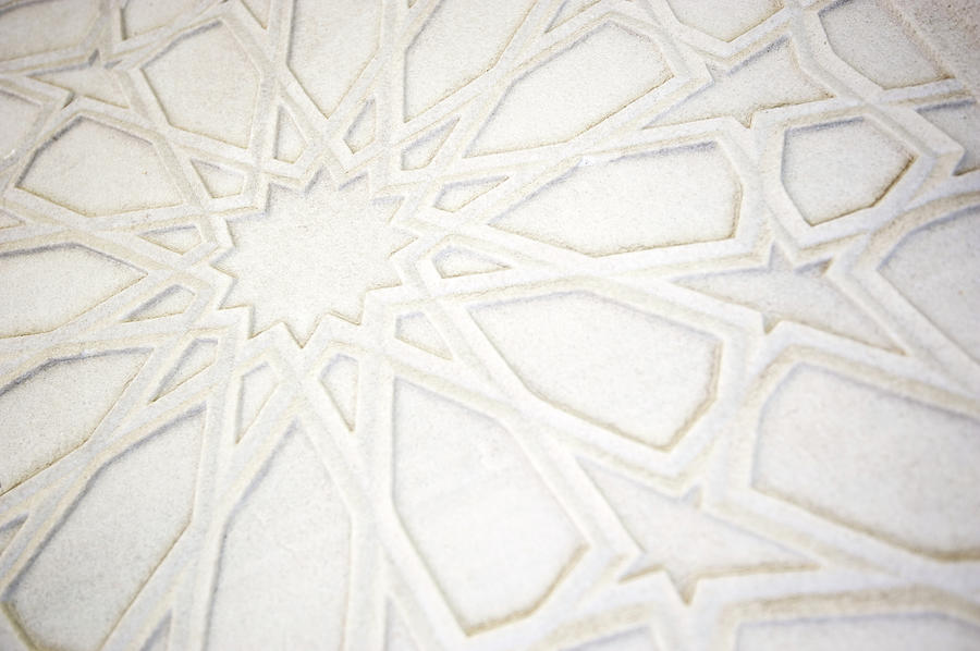 Full Frame Islamic Pattern White Marble Photograph by Peskymonkey