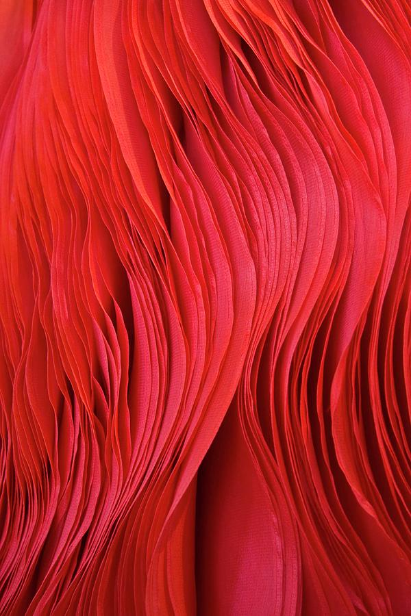 Full Frame Red Fabric Photograph by Gerard Hermand