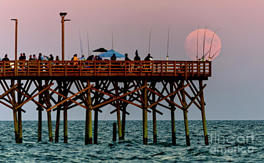 Full Moon and Pier by DJA Images
