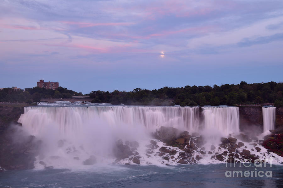 Full Moon At Sunset Over The American Falls July 15,2019 by Sheila Lee