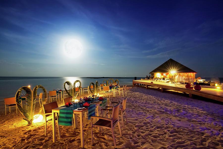 Full Moon Dinner - Vilamendhoo Island Photograph by Cinoby