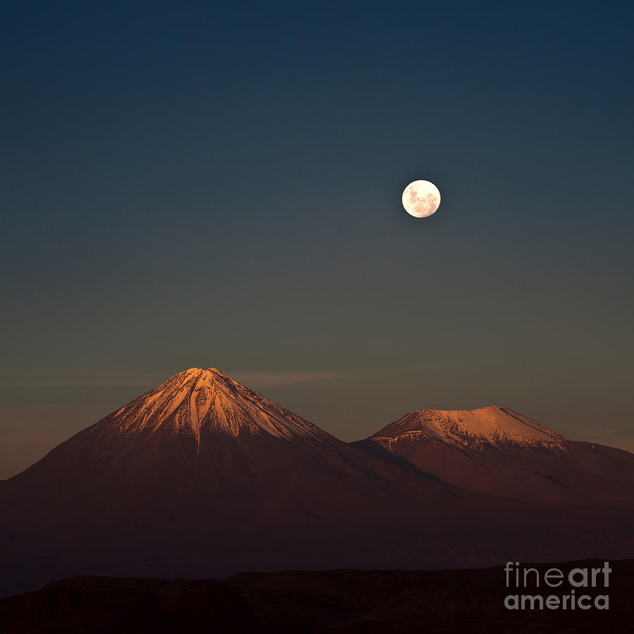 San Pedro De Atacama Photograph - Full-moon In The Moon Valley Volcanoes by Ksenia Ragozina