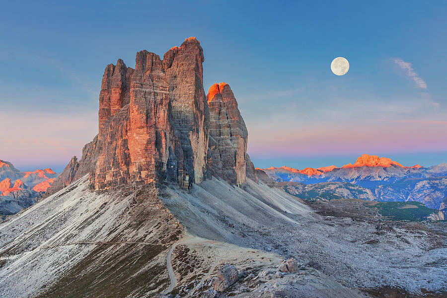 Full Moon Morning on Tre Cime di Lavaredo by Dmytro Korol