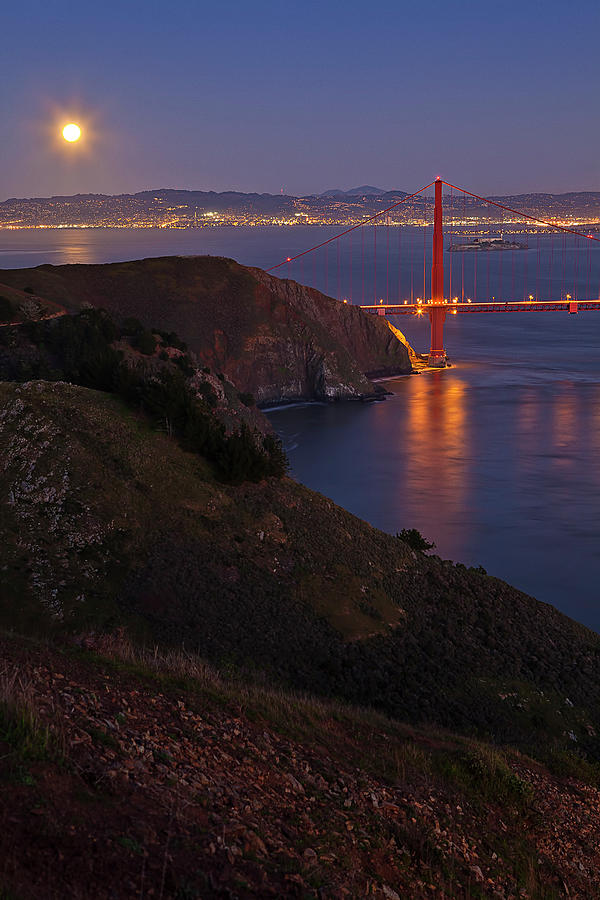 Full Moon Over Golden Gate Bridge Photograph by Photo By Mike Shaw