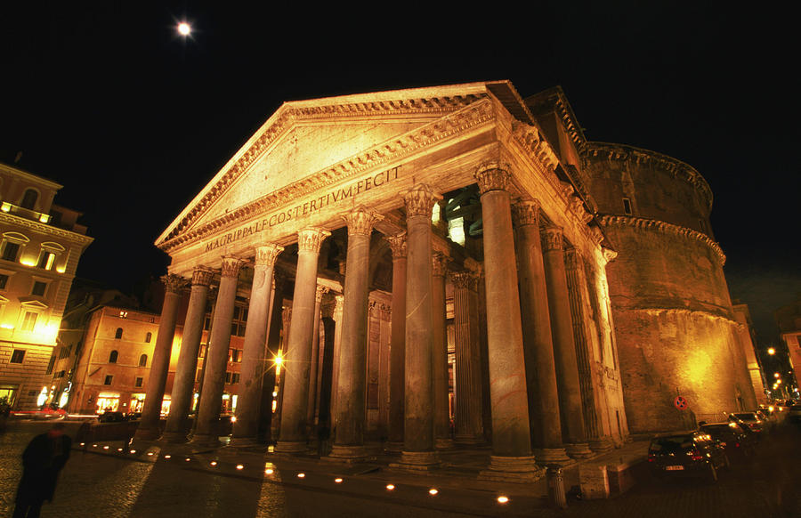 Full Moon Over Pantheon And Portico Photograph by Lonely Planet