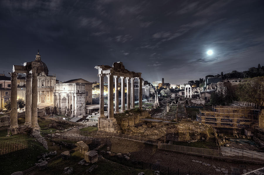 Full Moon Over Roman Forum, Rome Photograph by Sisifo73photography By Marco Romani