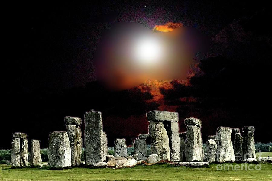 Full Moon over Stonehenge by Janette Boyd