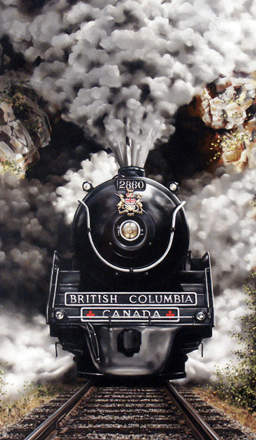 Steam Locomotive Pastel - Full Steam by Dianna Ponting