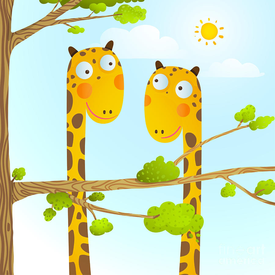 Queer Digital Art - Fun Cartoon Baby Giraffe Animals In by Popmarleo