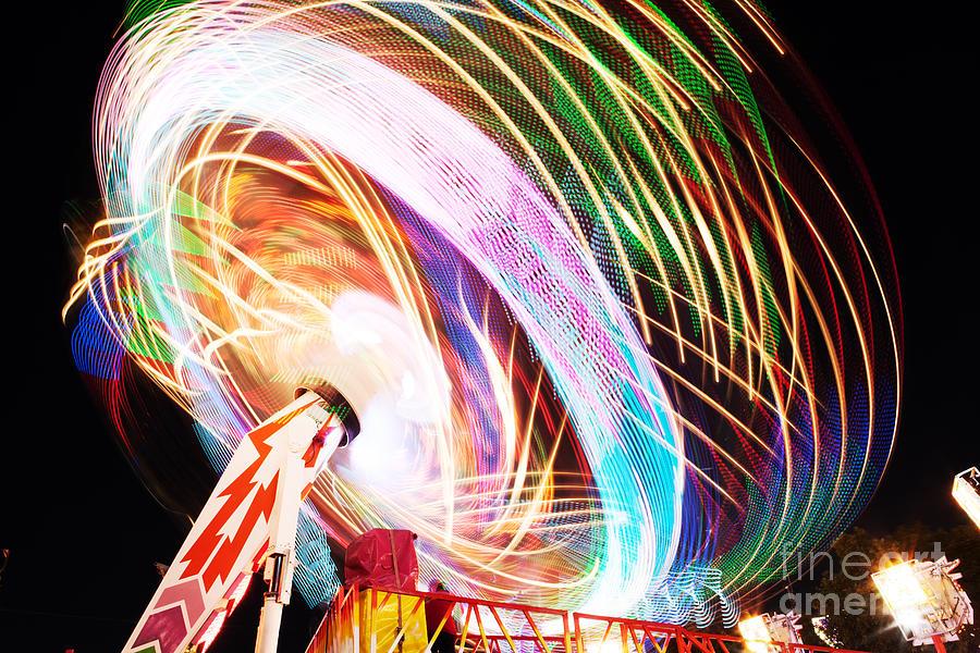 Play Photograph - Fun Fair, Long Exposure. Colourful by David Mg