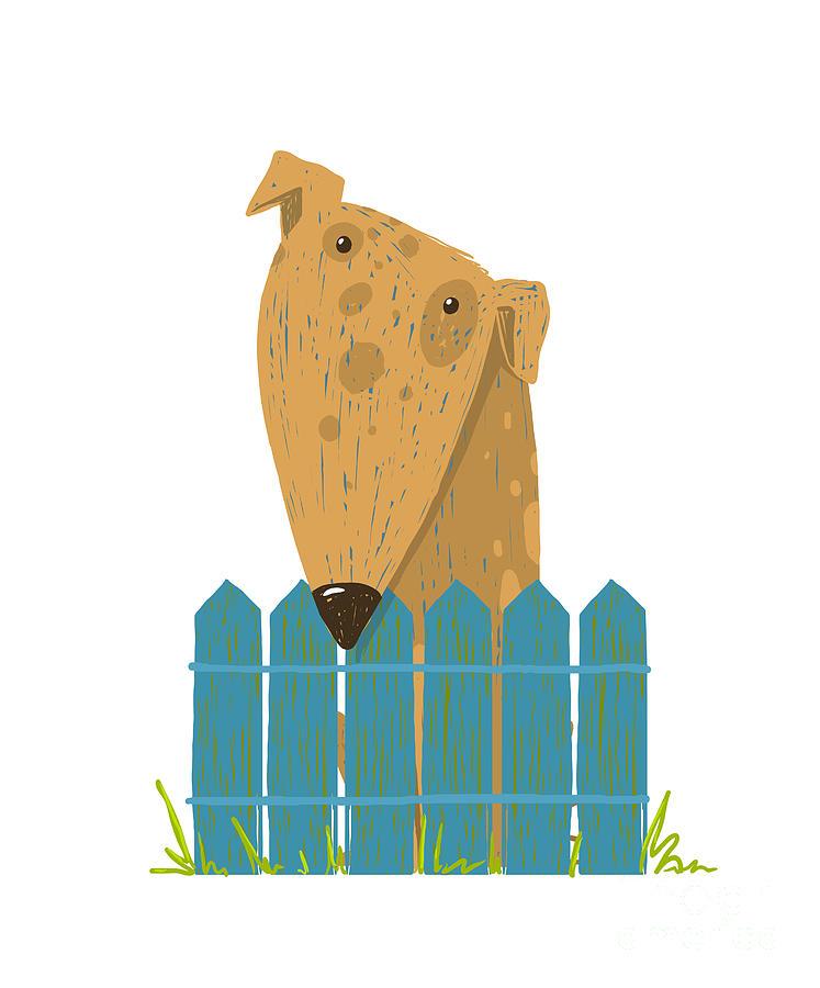 Friendly Digital Art - Fun Farm Cute Dog Sitting Over Fence by Popmarleo