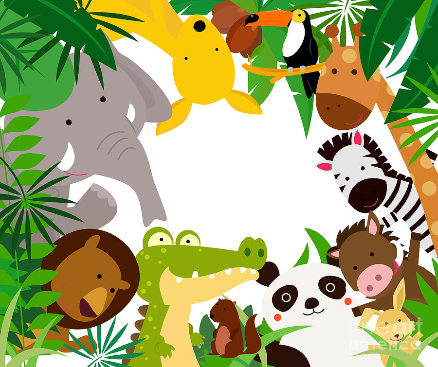 Forest Digital Art - Fun Jungle Animals Border by Suerz