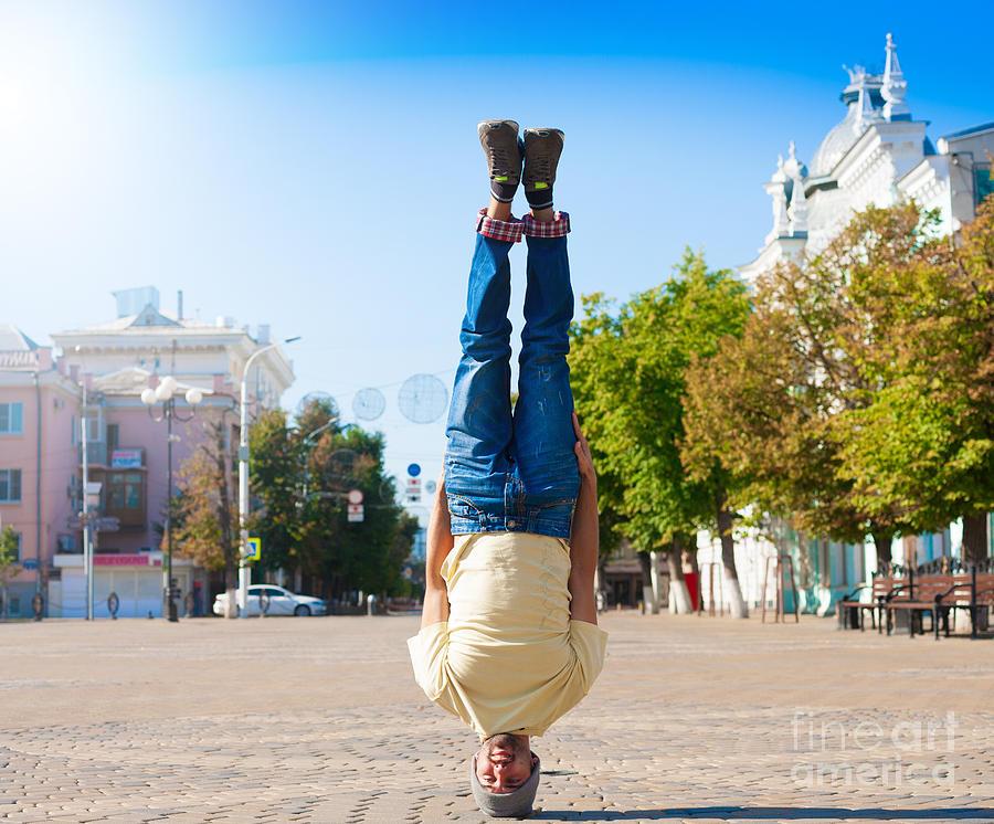 Freestyle Photograph - Fun Man Dancing. Has Yellow T-shirt by Erainbow