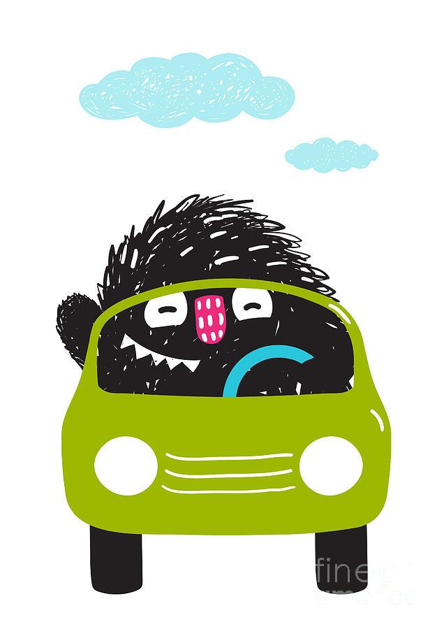 Play Digital Art - Fun Monster Driving Car Cartoon For by Popmarleo