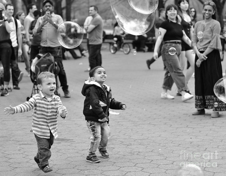 Bubbles Photograph - Fun With Bubbles - Central Park In Spring by Miriam Danar