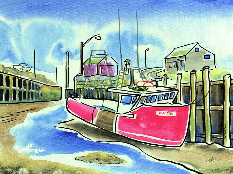 Red Boat Painting - Fundy Tide Halls Harbour by Kevin Cameron