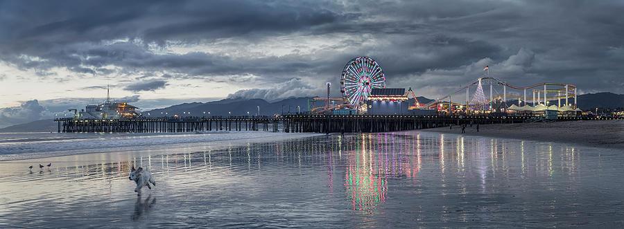 Funfair On Santa Monica Pier Reflecting Photograph by John M Lund Photography Inc