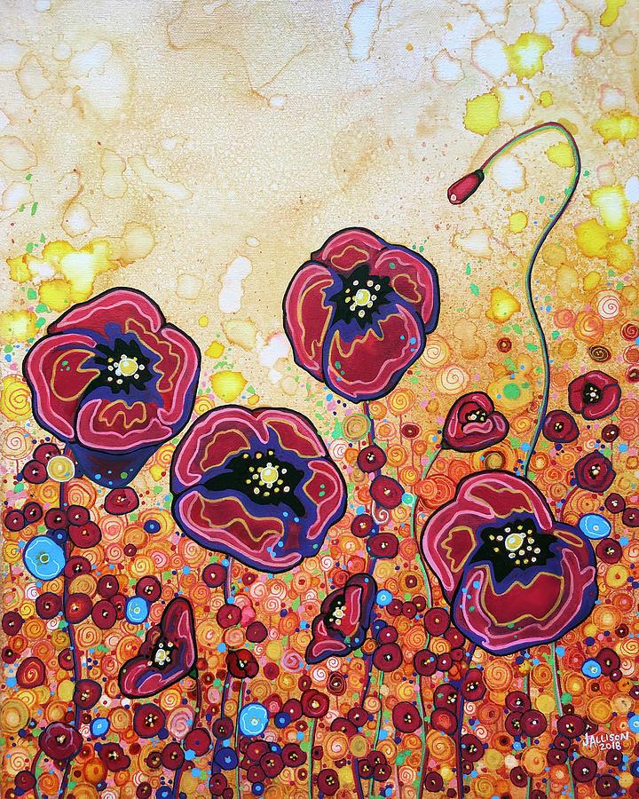Poppy Painting - Funky Flowers by Jennifer Allison