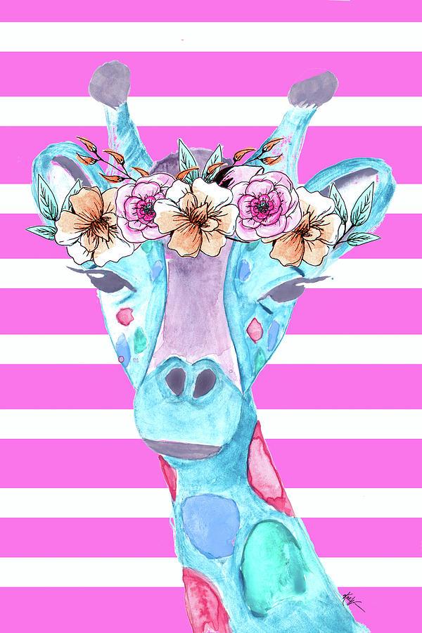 Funky Digital Art - Funky Giraffe by Kali Wilson