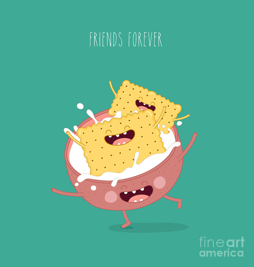 Bed Digital Art - Funny A Cookies Swimming In A Cup With by Serbinka
