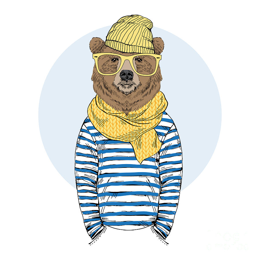 Fancy Photograph - Funny Bear Dressed Up In Frock, Furry by Olga angelloz