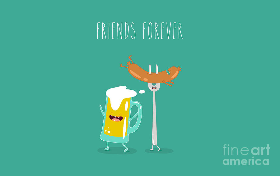 Symbol Digital Art - Funny Beer With Sausage. Vector by Serbinka